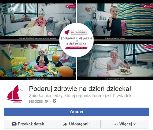 Facebook zbiórka na dzień dziecka